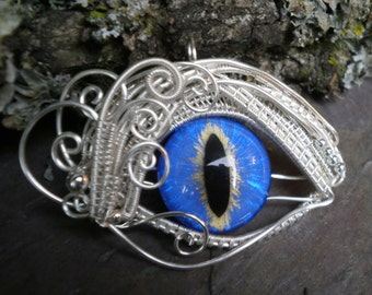 Gothic Steampunk Bright Blue Eye Pendant