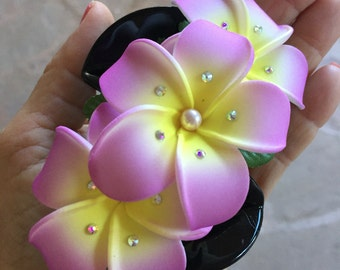 light purple tip, soft yellow center 3-plumeria cluster hair clip embellished with Swarovski pearls and crystals