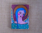 "Angel Woodblock Print Folk Art Encaustic 3.5"" X 5"""