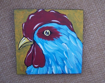 Rooster Chicken painting Blue Shabby Rustic farmhouse Painting FREE SHIPPING