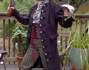 Swashbuckling Black Tapestry Cloth Pirate Jacket
