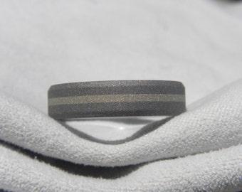 Titanium White Gold Ring or Wedding Band, Beveled Edges, Sandblasted