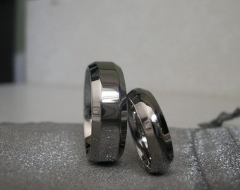 Titanium Ring Set or Wedding Bands Beveled Edge Polished
