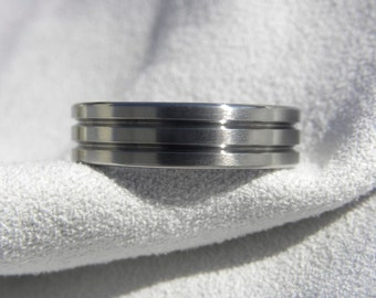 Titanium Ring, Wedding Band, Two Cut Grooves