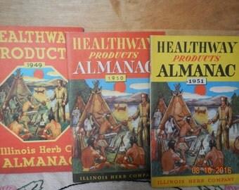Six Vintage Almanacs I940s 1950s llinois Herb Co