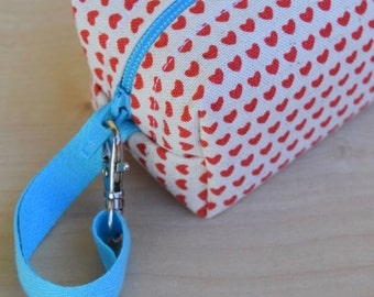 Red Hearts on Natural Mini (Pacifier Pouch)