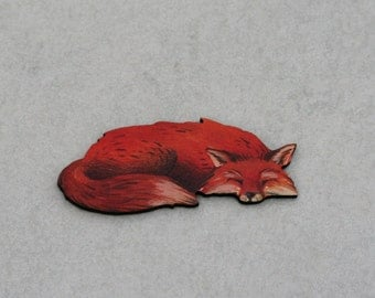 Fox Brooch, Woodland Fox Illustration, Wood Jewelry, Animal Brooch