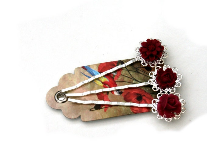 Burgundy Flower Bobby Pins, Burgundy Hair Grips, Girls Hair Accessory, Set of Three