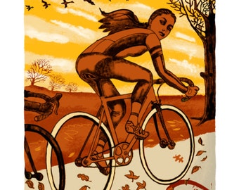 7/100 Four Seasons Cycling Autumn, 320x420mm signed and numbered Giclee 6 of 100 by  illustrator Chris Watson