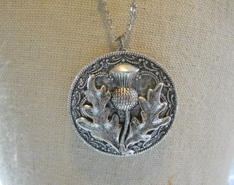 Silver Thistle Locket Scotland Scottish Flower Jewelry Layered Filigree Travel Memories of the Scottish Isle