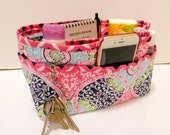 "Purse Organizer Insert/Enclosed Bottom  4"" Depth/ Pink Print"