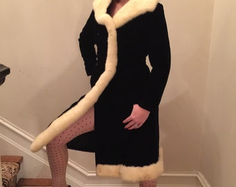 Just reduced ...Pristine princess cut black velvet dress coat with white mink fur collar , and trim with marcasite buttons