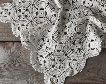 Antique Crochet Lace Panel , Crochet Lace, Vintage Crocheted Lace, Lace Panel, Vintage Textile, Sewing Supplies, Crocheted Lace Doily