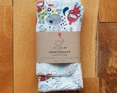 Organic Baby Burp Cloth and Bib Gift Set, Eco baby gift, Space Astronauts Kids Print, Organic Cotton, by Sweetpea and Co.
