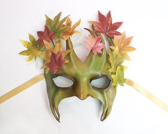Leather Tree Mask with Fabric Leaves greenman greenwoman forest Ent Groot Treebeard