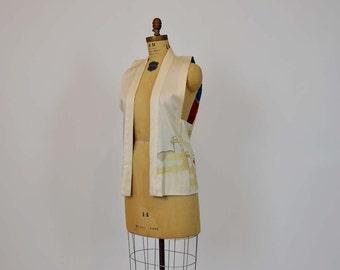 vintage vest / Vintage 40's Japanese Geisha Embroidered Hand Painted Vest