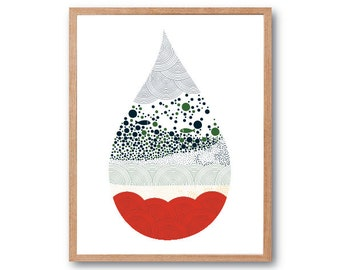 Water drop Fish Tank Art Print, Aquarium Decor, Fish Art, Fish Print, Fish Illustration, Children's Book Art, Kids Art, decorative arts
