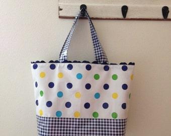 Beth's Big BlueTokyo Dot Oilcloth Market Tote Bag with Rick Rack Trim
