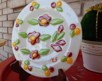 Plate, Fused Glass, Floral