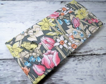 Butterfly garden pastel floral on gray Handmade Vegan checkbook cover / wallet