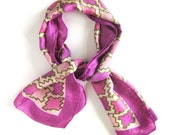 Vintage Silk Scarf / Geometric Print in Pinks Violet and Olive Green / Hand Rolled Hem / Rectangular Long Scarf / Vintage Scarf