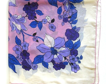 Vintage Floral Silk Scarf - Bright Floral Pattern in Pink, Purple and Royal Blue /  Hand Rolled Hem