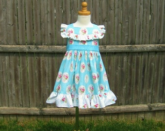 Girls ruffled dress, size 3, pink roses, blue polka dot, ready to ship, ruffled bodice, party dress, summer dress, Easter dress, shabby chic