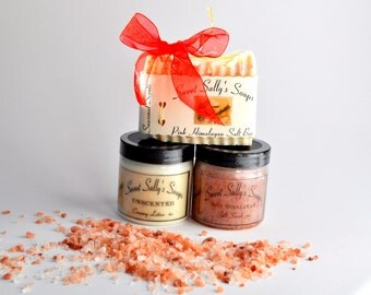 Pink Himalayan Salt Gift Set, Salt Soap, Pink Himalayan Salt Scrub, Unscented Creamy Lotion