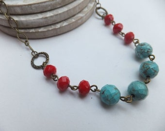 Turquoise Gemstone and Red Crystal Antique Bronze Necklace