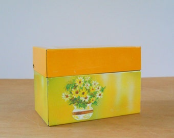 Vintage Recipe File Box • Ohio Art Metal Box • 1970s Vintage Yellow Flowers