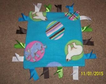 Handmade, Ribbon Lovey Blanket, Baby Animals on Turquoise