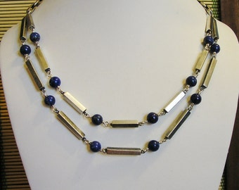 Vintage Bib Necklace, Sterling Silver, LAPIS Beads, OOAK, Handmade, 17.5 inches long
