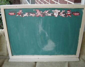 Vintage Double Sided Chalkboard Green Chalk Board ATF Toys Framed Chalk Board Menu Board Kids Room 1950s