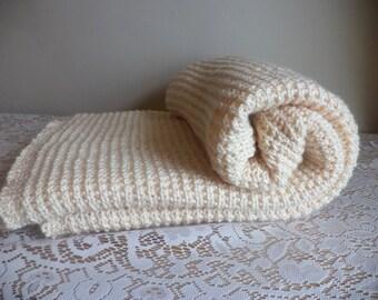 Lap Blanket, Cream, Ecru, White, Hand Knit Afghan, Simple, Machine Wash and Dry, Throw, Shawl, Warm, Winter White, Cozy