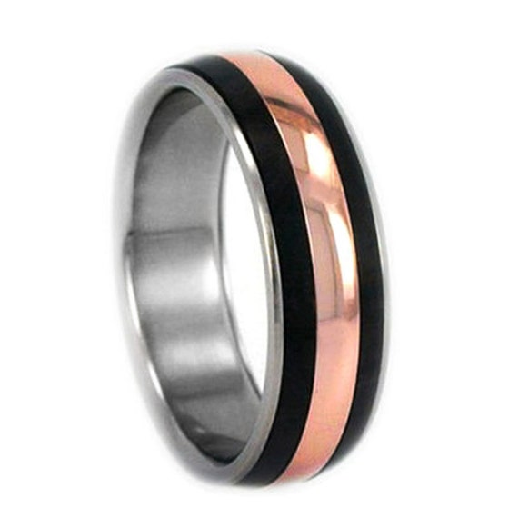 Rose Gold Ring, Titanium Ring with Rose Gold and Blackwood Inlay, Wedding Band Ring, Ring Armor Included