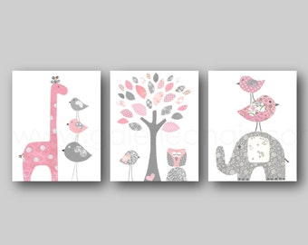 Light pink and gray Girl room decor, baby nursery art, giraffe nursery, elephant nursery, tree Birds nursery, owl, Set of three prints
