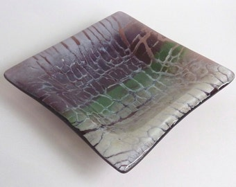 Fused Glass Dish in Periwinkle, Orchid, Plum, and Greens