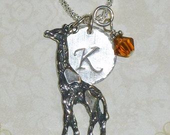 Giraffe Necklace, Giraffe Hand Stamped Sterling Silver Initial Charm Necklace, Personalized Giraffe Necklace, Giraffe Jewelry