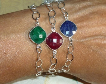 Emerald Ruby or Sapphire Gemstone Sterling Silver Hammered Cable Link Bracelet with Dangle - Adjustable Silver Stacking Gemstone Bracelet