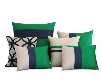Kelly Green & Navy Blue Pillow Cover Set of 6 - Decorative Pillows, Striped Pillows by JillianReneDecor - Luxury, Geometric Decor