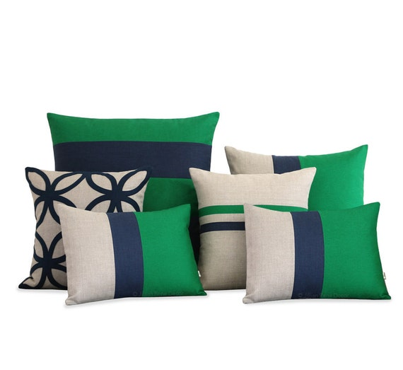 Kelly Green Throw Pillow : Kelly Green & Navy Blue Pillow Cover Set of 6 Decorative
