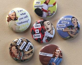 Retro Snarky Pinback Buttons set of six