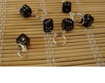 10mm black dice stitch markers
