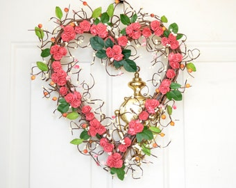 Summer Heart wreath in coral pink Heart Shaped Wreath Year round decor Front door decor Spring Summer wreath Wedding decor