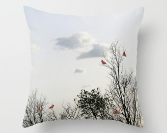Red Cardinals Pillow Cover, Home Decor, Interior Design, Nature Landscape, Accent Piece, Trees Pillow, Sky Pillow,Cloudy Sky, Woods,Branches