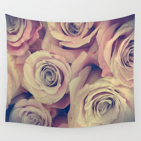 ROSES Wall Tapestry, Flower Wall Art, Pink Large Tapestry, Happy Fine Art Photography, Nature, Floral Decor, Feminine, Dorm, Retro, Vintage