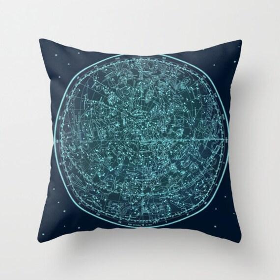 Zodiac Map Throw Pillow, Vintage Map Outdoor Pillow, Ancient Zodiac Map Patio Decorative Pillow, Office Pillow, Office Decor,Space,Blue Teal