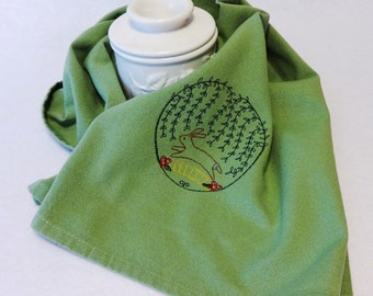 Bunny Towel, Cotton Hand Towel, Embroidered Towel, Easter Towel, Rabbit Towel, Spring Towel, Green Hand Towel (Bunny Arbor Green)