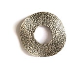 1pc - Matte Silver Plated Rustic Circle, Huge Round pendant-55x55mm-(401-037SP)