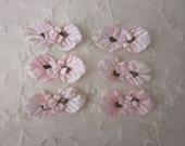6 pc PINK Velvet Leaf Satin Ribbon Flower Applique Baby Dog Bow Applique